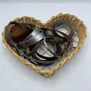 Lot # 47 Lot of Belts and A Wooden Heart Basket