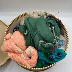 Lot # 50 Lot of Scarves in Vintage I Magnin Hat Box