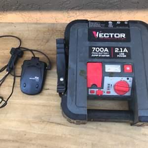 Lot # 64 Peak Battery Jump Starter & Car Whistler Radar Detecter-Untested