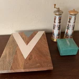 Lot # 83 Fabienne Jouvin Trinket Box, Lenox Salt & Pepper Grinder, & Nate Berkus Wood Serving Tray