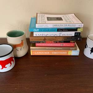 Lot # 85 Lot of Self Help Books, and 3 Cool Coffee Cups