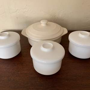 Lot # 89 Petite Madison Ceramic Baker by Wildly Delicious and 3 Porcelain Covered Bowls