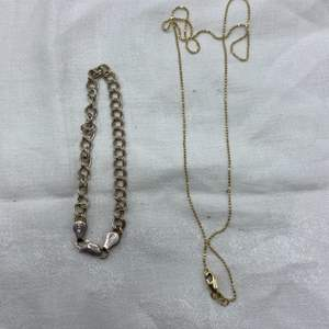 Lot # 108 Sterling Bracelet and Gold Chain Necklace