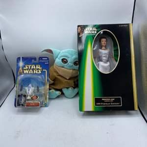 "Lot # 1 12"" Baby Yoda, Star Wars R2-D2 (Works), and Princess Leia Barbie"