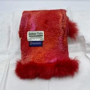 Lot # 3 New Zealand Merino/Silk Possum Trimmed Red & Orange Scarf