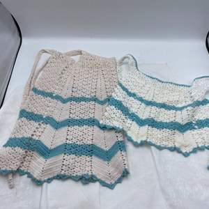 Lot # 5 Two 1950's Vintage Matching Turquoise & White Crotchet Aprons (One Adult, One Child Size)