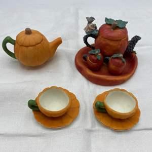 Lot # 6 Two Collections of Mini Pumpkin Tea Sets