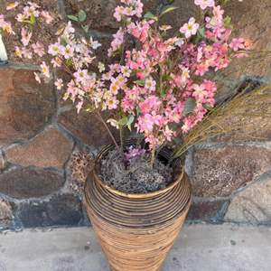 Lot # 9 Large Rattan / Bamboo Floor Vase with Cherry Blossoms