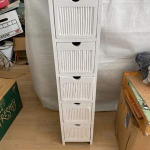 Lot # 17 Five Tier White Storage Drawers - Front of Drawers Made of Wood and Bamboo