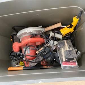 Lot # 26 Bin Full of Tools - Electric Drill, Sander, Hammer, Etc.