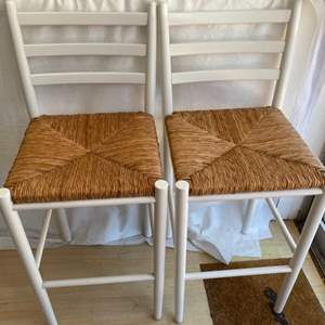Lot # 30 Two Wooden Stools (White) With Wicker Seat