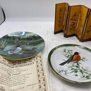 Lot # 34 Lot of Bird-Themed Items - Collectable Decorative Plates and Tiny Privacy Wall
