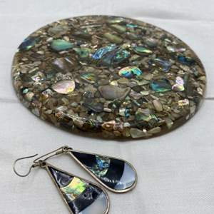 Lot # 37 Lot of Abalone Items - Coaster and Earrings