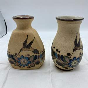 Lot # 40 Two Vases with Depictions of Hummingbirds from Mexico, signed Netz