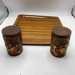 Lot # 49 MCM Wooden Salt and Pepper Shakers plus Teak Wooden Tray