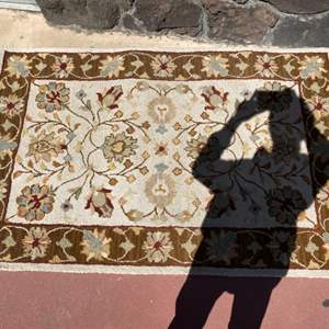 Lot # 54 Plow and Hearth Brand Mason Rug - Brown And Tan With Floral Pattern