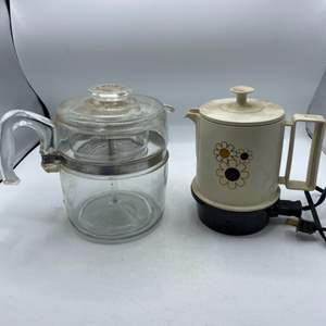 Lot # 55 Small Electric Kettle (Untested) and Tea Holder Glass