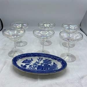 "Lot # 62 ""John Maddock & Song Co."" Decorative Plate, plus Six Iridescent Glasses"