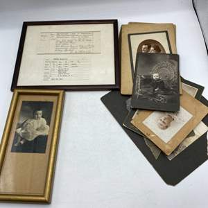 Lot # 68 Lot of Historical Items - Pictures, Birth Certificates?, Handwriting