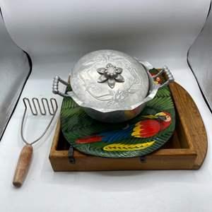 Lot # 70 Lot of Kitchen Items - Potato Masher, Parrot Tray, Wooden Tray, Silvertone Dish