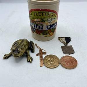 Lot # 72 Lot of Collectables in a Jam Container - Metal Frog, Religious Items, Coins?, Etc.