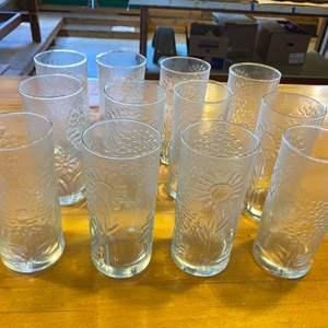 Lot # 5 Set of 12 Sunflower & Tree Design Drinking Glasses