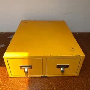 Lot # 19 Yellow Metal Card File Cabinet