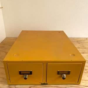 Lot # 20 Yellow Metal Card File Cabinet