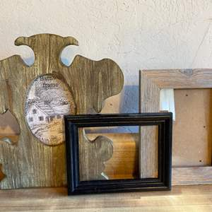 Lot # 56 Lot of Picture Frames - Barn Wood and Cast Iron