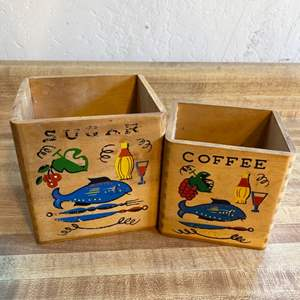 Lot # 58 Vintage Wood Canisters