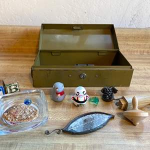 Lot # 62 Vintage Metal Lock Box with Collectibles