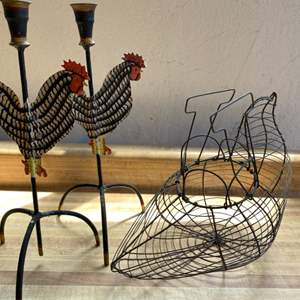 Lot # 80 Chicken Wire Basket and Pair of Chicken Candlestick Holders