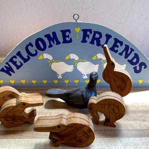 Lot # 103 Welcome Home Duck Design Sign, Ceramic Duck, and Wood Duck Figures