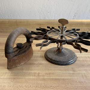 Lot # 117 Antique Iron and Iron Achilles Stamp Holder