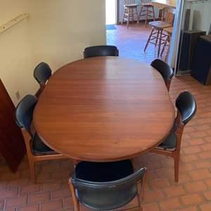 Lot # 136 Made in Denmark Teak Dining Table Set