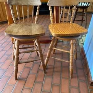 Lot # 151 Lot of 2 Wood Swivel Bar Stools