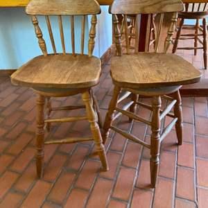 Lot # 153 Lot of 2 Wood Swivel Bar Stools