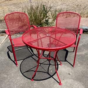 Lot # 154 Red Metal Bistro Set