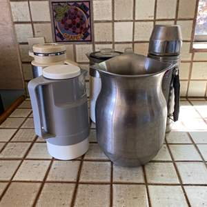 Lot # 157 Lot of Vintage Thermos, Pitchers, and Carafe
