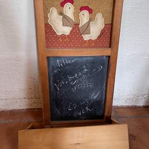 Lot # 175 Chicken Chalkboard and Wood Shelf