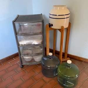 Lot # 183 Crock Water Bottle Base, Plastic Storage Bins, etc