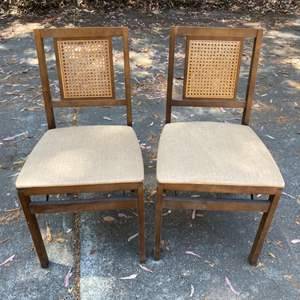 Lot # 197 Pair of 2 Dark Wood Cane Back Folding Chairs