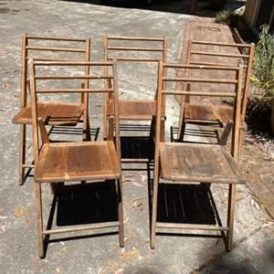 Lot # 198 Set of 5 Wood Folding Chairs
