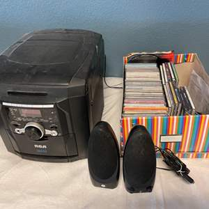 Lot # 25 RCA 5 CD Changer (Works), Lot of CDs, and Speakers