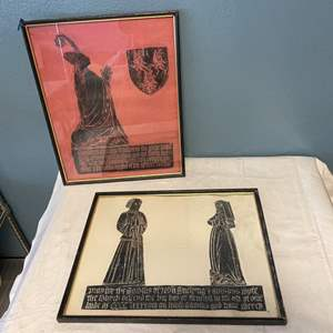 Lot # 35 Pair of Medieval Prints, Broken Frame on the Red One