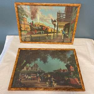 Lot # 41 Pair of Completed Train Puzzles, Framed