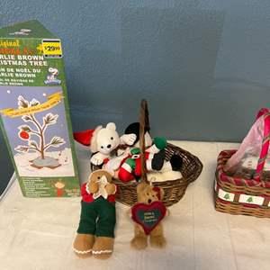 Lot # 43 Lot of Christmas Stuff - Charlie Brown Tree, Stuffed Animals, Ribbon