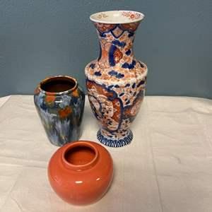 Lot # 50 Lot of Blue and Orange Vases