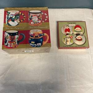 Lot # 52 Christmas Mugs (Unopened) and Snowman Plates