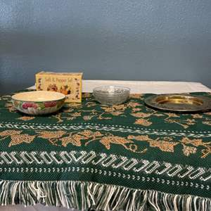 Lot # 64 Autumn Themed Items - Blanket and Dishes